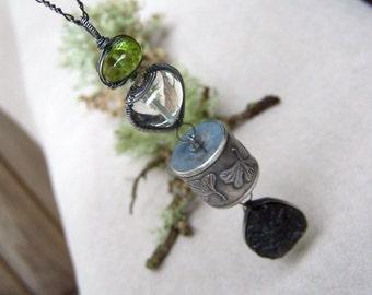 Anne choi Ginkgo bead, Peridot rondelle, Green Amethyst, Moldavite, oxidized sterling silver necklace