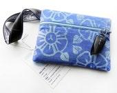 Hand printed bag, morning glory, handmade clutch, floral bag, bike inner tube, blue clutch, hand printed bag, zipper pouch, cute bag,  #278