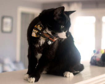 Cat Print Bow Tie for Cats