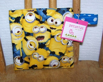 Reusable Little Snack Bag - pouch adults kids minions eco friendly by PETUNIAS