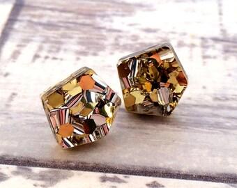 Gold Glitter Stud Earrings Acrylic Earrings Geometric Earrings Holiday Earrings Christmas Earrings Post Earrings Laser Cut Jewelry
