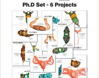 "Macrame patterns, Polymer clay tutorial   ""INKredible Macrame"" - Ph.D Pack (6 projects)  - Polymer & Micro Macrame   PDFs, Videos, CDs Kit"