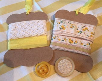 Yellow trim ribbon fabric and buttons inspiration kit