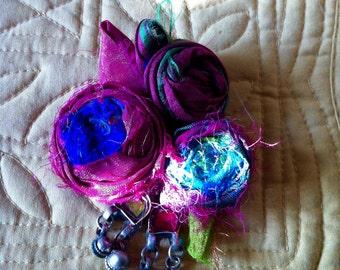 Bohemian sari silk brooch