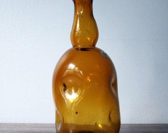 Empoli 1950s MCM Italian Amber Art Glass Vase