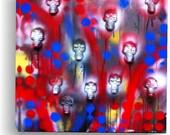 3D Skull Graffiti original painting Version 1 goth  tattoo  decor