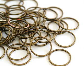 25pcs 16mm Antique Bronze Smooth Brass Rings EC18716-NFAB