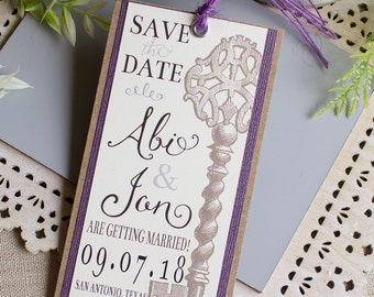Vintage Key Save the Date Bookmark - Skeleton Key save the date - Purple save the date - rustic wedding - book mark save the date - plum