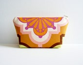 Knitting Project Bag Zipper Pouch Anna Maria Horner Drawing Room Pressed Flowers in Gold