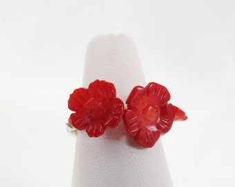 Red Coral Rose and Sterling Silver Stretch Ring  - Rose of Sharon Collection