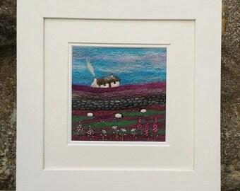 Needle Felted Landscape Picture Purple Ridge Bothy