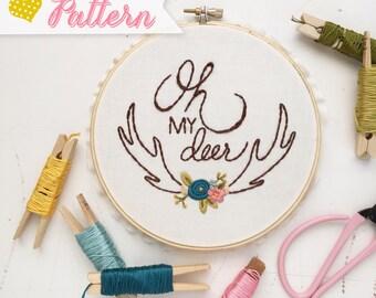 Oh My Deer digital embroidery pattern