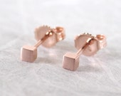 2.5mm Tiny Brushed Square Studs 14k Solid Rose Gold Earrings by Susan Sarantos
