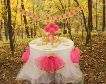 Pink and Gold Princess Birthday Party In A Box: Tutus, Hats, Banner, Decorations, Chair Cover Set