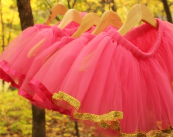 Princess Birthday Raspberry Pink and Gold Tulle Tutus, Set of 6
