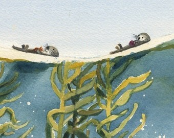 Otters and the Kelp Forest watercolor print
