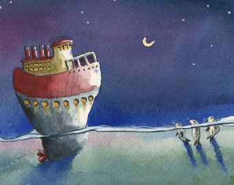 Night Ship with seals watercolor print
