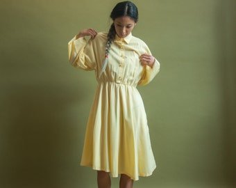 yellow cotton shirt dress / midi dress dress / s / 1948d / B14