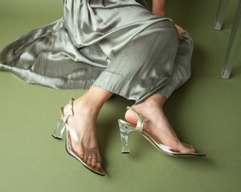 clear lucite slingback sandals / clear heel peeptoe heels / clear slide shoes / 10 / 760s