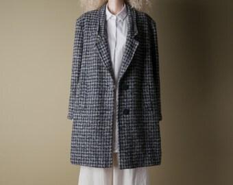 proto punk houndstooth tweed coat / wool oversized coat / vintage car coat / m / 768o