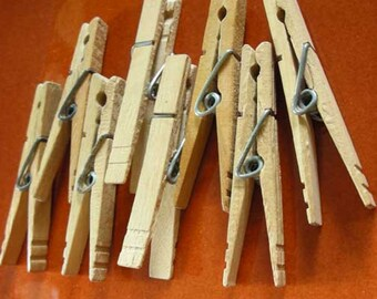 Vintage Wooden Spring-Action Clothespins  Set of 8