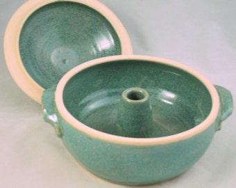 Aqua Green Vegetable or Rice Steamer/Wheel Thrown Stoneware Pottery