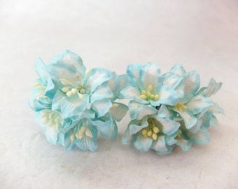 Mint paper flowers - 40mm mint mulberry paper lily - mint paper flowers with wire stems
