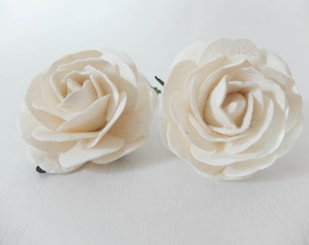 Large off white paper roses - 2 pcs 2.5 inches off white mulberry paper roses with wire stems