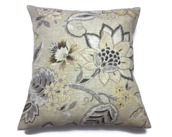 Decorative Pillow Cover Modern Floral Honey Black Gray White Ivory Yellow Khaki Same Fabric Front/Back Toss Accent Throw 18x18 inch x