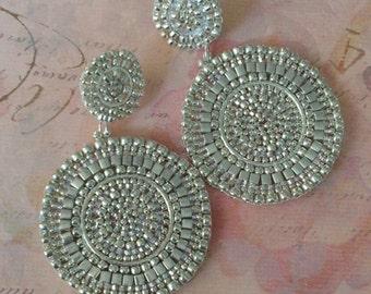 Beaded Post Statement Earrings Silver Satin Seed Bead Earrings