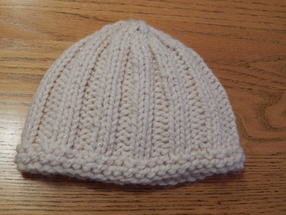 Wool Hat Hand Knit Kid to Adult Rib Knit Off White with Gold Flecks Ready to Ship