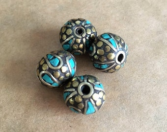 Turquoise and Brass Beads (Item #P182)