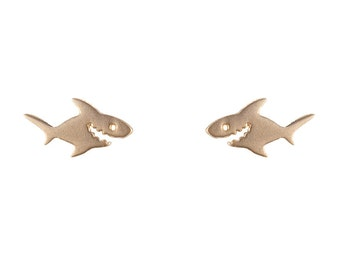 Boucles d'oreilles requin or