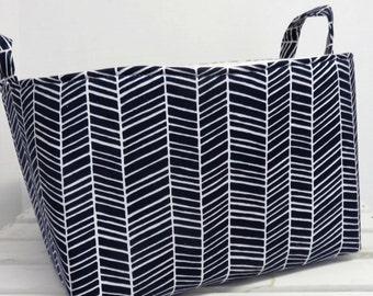 Herrinbone Fabric by Joel Dewberry - Large Diaper Caddy Storage Container Basket Organizer Bin - Nursery Decor - 1 Divider