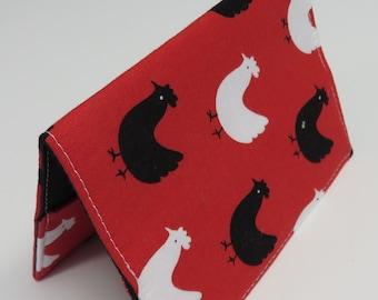 Passport Cover Case Travel Holder - Black / White Chicken Hens on Red