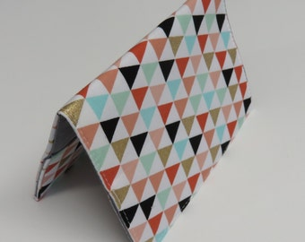 Passport Holder Travel Holiday Cover Case - Multi Color Triangles on White