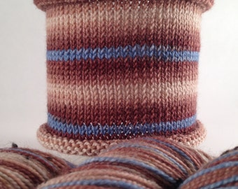 Allons-y: TWEED base, hand-dyed gradient self-striping sock yarn, 80/20 SW merino/nylon nep