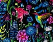 Midnight Garden-- Original Encaustic Painting