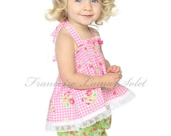 Baby girls, pink green outfit, bloomer, halter top, pink gingham, floral top, shirred top, spring summer, easter baby set  size 3 months -4T