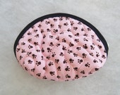Small Quilted Purse - black paw prints on pink