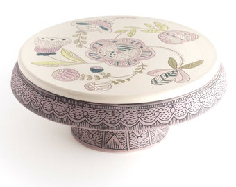 Cake Stand - 8 inch - folk illustrated floral  - art pottery