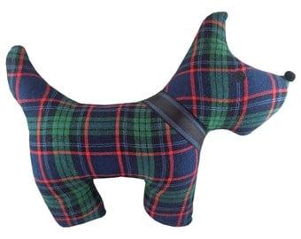 Hunter Green Plaid Tartan Scottie Dog Pillow