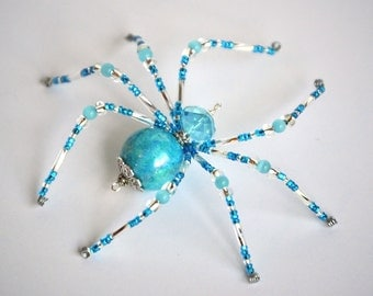 Gemma - aqua and clear glass beaded spider goth sun catcher - Halloween decoration - Christmas ornament