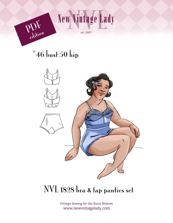 Retro Lingerie, Vintage Lingerie, New 1950s,1960s, 1970s NVL 1940s bra and tap panties pattern set 46 bust in PDF 1828 $14.00 AT vintagedancer.com