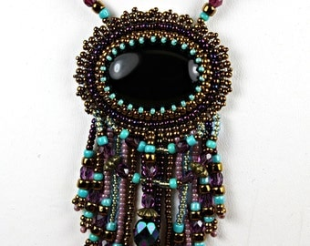 Beaded Jewelry Bead Embroidery Black Onyx Purple Necklace