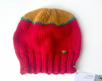 Red mustard and teal baby beanie
