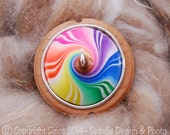 The Clay Sheep Drop Spindle - LIMITED EDITION - Rainbow Swirl Top Whorl Drop Spindle - Small .88 oz