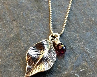 Leaf Necklace Sterling Silver  Wire Wrapped Garnet Gift for Her Free US Shipping Mistletoe Leaves Botanical On Sale