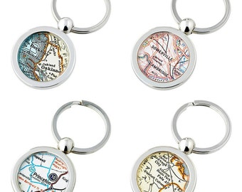 College  Map Keychain Ring  Choose the City University or High School Graduation Gift Custom Free  US Shipping Graduate Gift