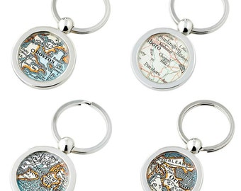 Wedding Party  KeyChain Made to Order Your City Fob Key Ring Groomsmen  Set of 4 at a Special Price   Key Rings Don't forget Dad